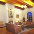 Inviting lobby with brick fireplace